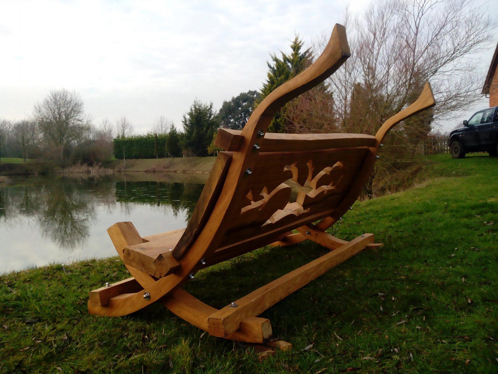 oak bench lakeside