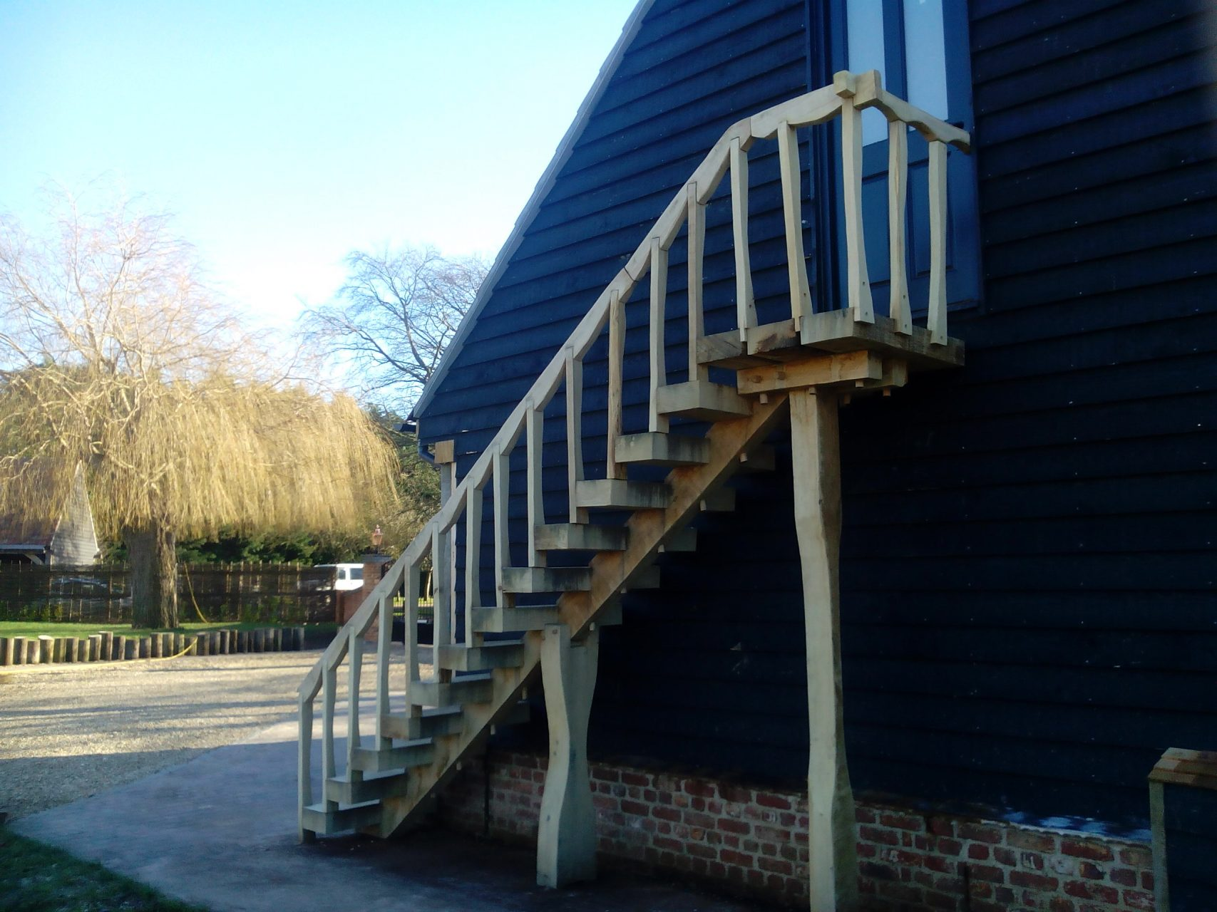 oak staircase barn